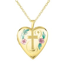 Cross and Flowers Heart-Shaped Locket Necklace