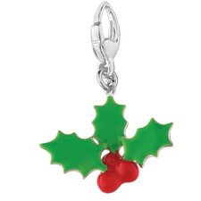 Sterling Silver Holly Leaves and Berries Charm