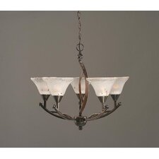 Bow 5 Light Up Chandelier with Crystal Glass