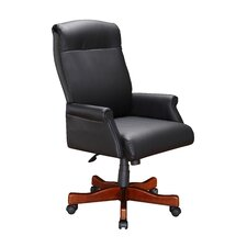 High Black Leather Roll Office Chair with Arm