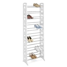 30 Pair Floor Shoe Stand with Non-Slip Bars