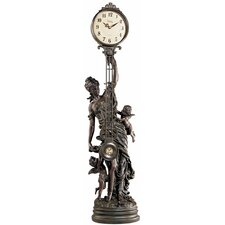 Grand-Scale Flora Sculptural Swinging Pendulum Clock in Antique Faux Bronze
