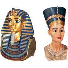 The Golden Mask of Tutankhamen and Queen Nefertiti Large Sculpture (Set of 2)