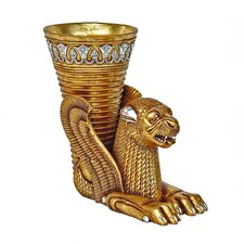 Ancient Persian Winged Lion Rhyton Vessel Urn