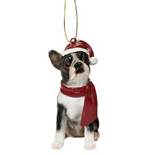 Boston Terrier Holiday Dog Ornament Sculpture