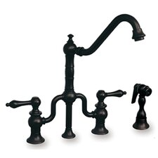 Twisthaus Two Handle Widespread Bridge Kitchen Faucet with Long Traditional Swivel Spout Lever Handles and Side Spray