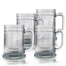 Tankard Mug 15 oz. Hand Cut Clipper Ship Pattern (Set of 4)