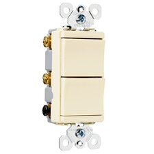 TradeMaster 15A120V Decorator Two Single Pole Switches in Brown
