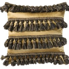 Espresso Synthetic Pillow with Tassel Fringe