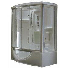 Personal Sliding Door Glass Steam Shower with Whirlpool Bathtub