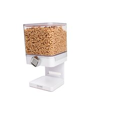 Single Compact Cereal Dispenser in White with chrome knob