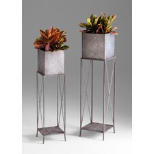 Newton Planters in Rustic Iron (Set of 2)