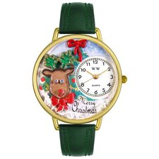 Unisex Christmas Reindeer Hunter Green Leather and Goldtone Watch in Gold