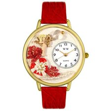 Unisex Valentine's Day Red Leather and Goldtone Watch in Gold