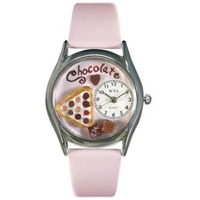 "Women""s Chocolate Lover Pink Leather and Silvertone Watch in Silver"