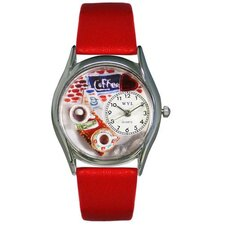 "Women""s Coffee Lover Red Leather and Silvertone Watch in Silver"