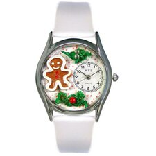 Women's Christmas Gingerbread White Leather and Silvertone Watch in Silver