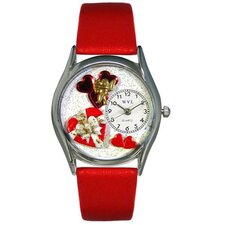 Women's Valentine's Day Red Red Leather and Silvertone Watch in Silver