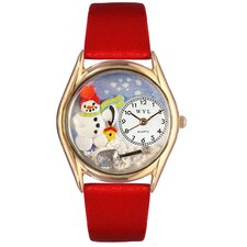 Women's Christmas Snowman Red Leather and Gold Tone Watch