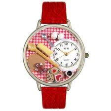 Unisex Baking Red Leather and Silvertone Watch in Silver
