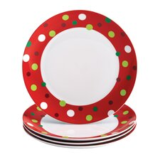 "Hoot's Decorated Tree 11.8"" Polka Dots Dinner Plate (Set of 4)"