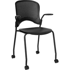 Hercules Series Perforated Stacking Side Chair with Arms and Casters