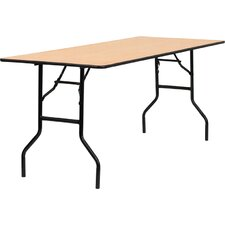 Rectangular Wood Folding Banquet Table with Clear Coated Finished Top