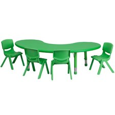 Adjustable Half-Moon Activity Table Set with 4 School Stack Chairs