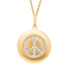 Round Peace Sign Pendant in Yellow Gold