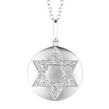 Round Star of David Pendant in Silver