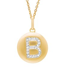 Round Initial B Pendant in Yellow Gold