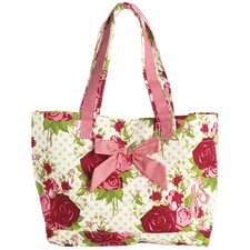 Spring Floral Red Tote Bag with Bow