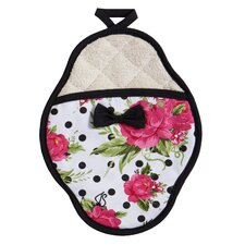 Dotted Parlor Floral Scalloped Pot-Mitt