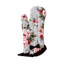Cottage Rose Lace Pink Trim with Oven Mitt