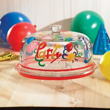 Delish Birthday Party Pedestal Cake Plate with Dome Lid