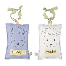 Sheep Asleep / Awake Sign in Distressed Blue
