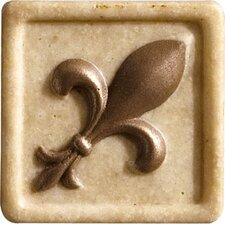 "Romancing the Stone 2"" x 2"" Compressed Stone Fleur de Lis Insert with Bronze Inlay in Ivory"