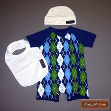 3 Piece Baby Clothes Gift Set in Blue Argyle and White
