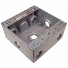 "4.5"" x 4.5"" "" Weatherproof Boxes in Gray with 7 Outlet Holes"