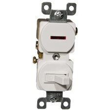 15A-120 Single Pole Switch and Pilot Light in White