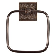 Hammered Copper Towel Ring with Square Backplate