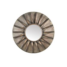 Distressed Round Iron Mirror