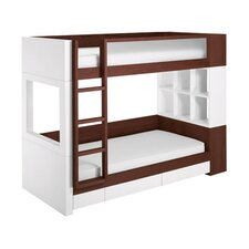 Duet Twin Bunk Bed with Bookshelves and Built-In Ladder