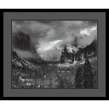 "Clearing Winter Storm by Ansel Adams, Black Matted Framed Print Art - 21.04"" x 25.04"""