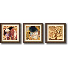 Fulfillment, Kiss and Tree of Life Framed Print by Gustav Klimt (Set of 3)