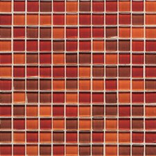 "Legacy Glass 12"" x 12"" Glazed Wall Mosaic in Red Blend"