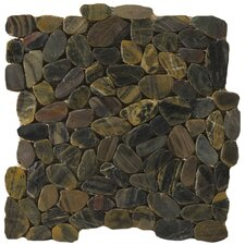 "Natural Stone 12"" x 12"" Flat Rivera Pebble Mosaic in Forest"