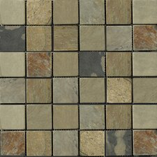 "Natural Stone 12"" x 12"" Slate Mosaic in Autumn Lilac"