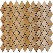 "Natural Stone 12"" x 12"" Tumbled Travertine Rhomboid Mosaic in Oro"