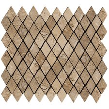 "Natural Stone 12"" x 12"" Travertine Rhomboid Mosaic in Mocha"